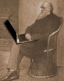Charles Darwin using his laptop